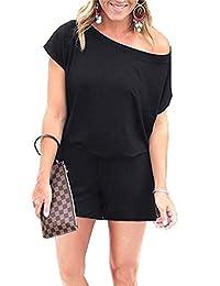 INIBUD Summer Off Shoulder Romper for Women Short Sleeve Jumpsuit Rompers with Pockets