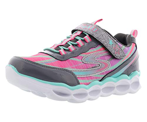 Skechers Girls' S Lights Lumos Sneaker,Charcoal/Multi,US 3 M