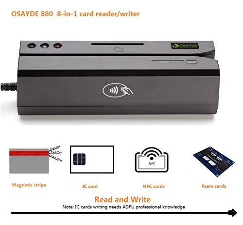 OSAYDE880 8-in-1 USB Magstripe&IC&NFC&Psam Cards Reader&Writer encoder Programmable with 20 Blank Cards, Only For ADPU Professional People Writing IC cards by Osayde