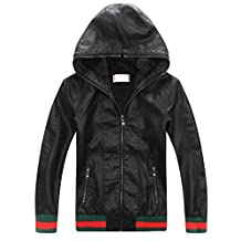 LJYH Boys' Faux Leather hoodies jacket With Zips