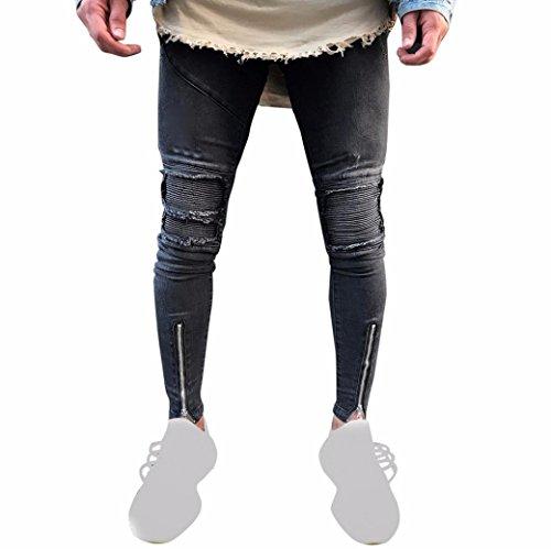 jeans hombre Xinan pantalones rotos largos vaqueros hombres vaqueros pantalones hippie harem pantalones de deportivos con bolsillos slim fit skinny jeans pantalón tapered para hombre Negro