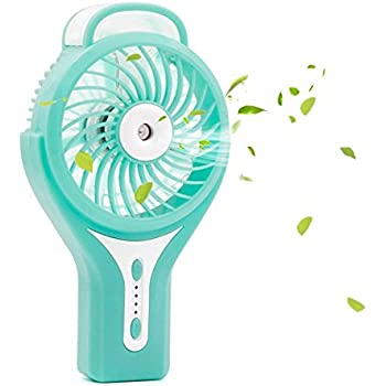 TianNorth Misting Fan Mini USB Handheld Humidifier Mist Water Spray Air Condictioning Moisturizing Fan Portable Face Spray Mist Humidifier (Blue)