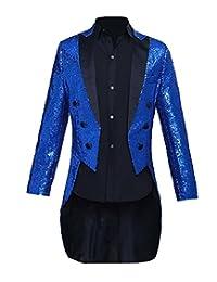 Zimaes-Men Moderator Tailcoat Satin Sequin Regular Fit Dress Suit