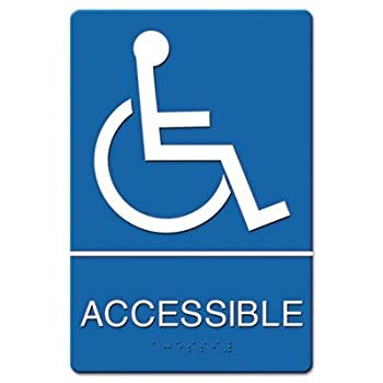 Ada Sign Wheelchair Accessible, Tactile Symbol/Braille, Plastic, 6X9,