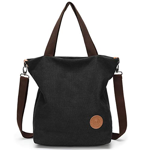 Women Canvas Daily Bag Black Shopping Large School function And Ladies Handbag Work Design Shoulder black Multi For Crossbody Use Size Pocket Travel Casual YqHYpxr