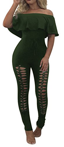 Sexy Jumpsuits for Women Off The Shoulder Sport Unitards Army Green Bodysuits M Army One Piece Bodysuit