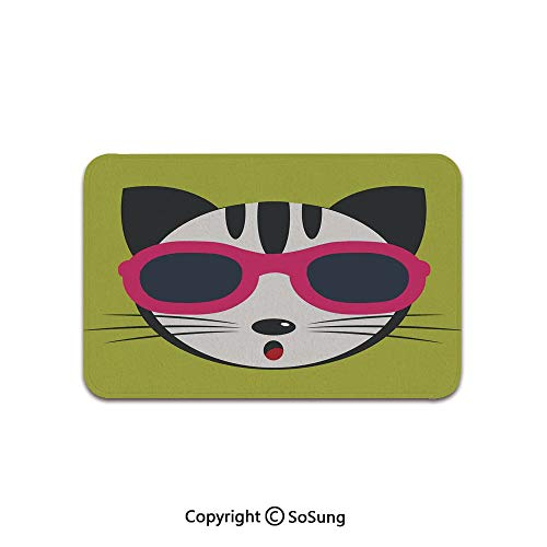 Animal Area Rug,Cute Kitten Wearing Pink Sun Glasses Cool Modern Hipster Cat Fashion Fun Pets Art Print,for Living Room Bedroom Dining Room,5'x 4',Multi