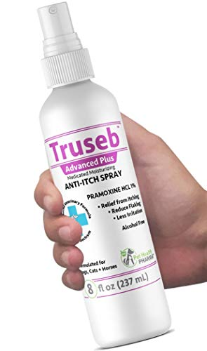 Truseb | #1 Pramoxine HCL 1% Anti Itch Spray Anesthetic and Medicated for Dogs and Cats with Scratchy, Itchy and Dry Skin, Hot Spots Moisturizing Oatmeal Made in U.S.A.