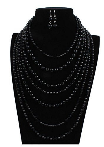 Shineland Multilayer Elegant Multi-Strand Simulated Bead Long Sweater Chain Choker Necklace In Candy Color (Black)