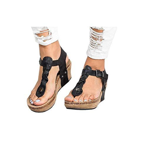 Women's Aditi Low Wedge Dress Sandals Casual Flip Flops Buckle Strap Wedges Sandals Platforms Shoes Black ()