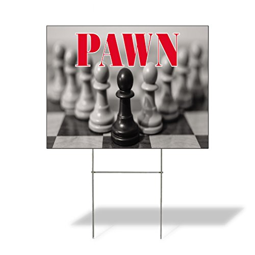 (Plastic Weatherproof Yard Sign Chess Pawn Pawn Shops Pawn #3 White for Sale Sign One Side 18inx12in)