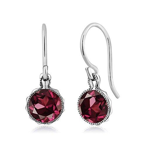 - Gem Stone King 2.00 Ct Round Red Rhodolite Garnet 925 Sterling Silver Dangle Earrings 6mm
