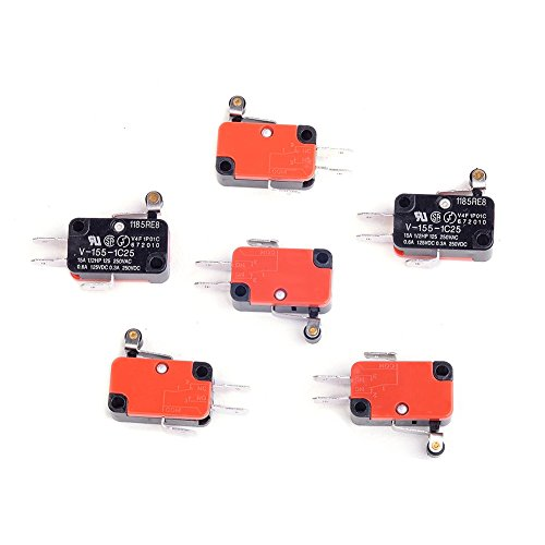 Cylewet 6Pcs SPDT V-155-1C25 Micro Limit Switch Short Hinge Roller Lever Arm for Arduino (Pack of 6) CYT1081