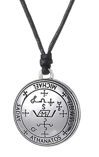 Archangel Michael Sigil Amulet Enochian Solomon Talisman Symbol of Strength and Protection Necklaces Vintage Jewelry for Men (Antique Silver) ()