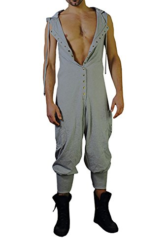 Styou Men's Button Sleeveless Hoodie Jumpsuit Summer Casual Romper Overalls,Gray,Small