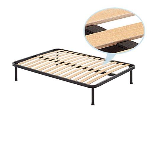 Rete ortopedica piazza e mezzo 140x190 CM struttura in ferro doghe legno e piedi 25 cm inclusi Europrimo