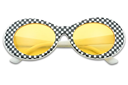 Classic Retro Vintage Checkered Oval Round Cobain Sunglasses W/ Color Pantone Lens (Yellow, - Checkered Glasses