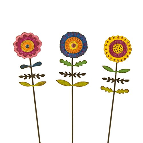 Miniature Fairy Garden Boho Flower Picks - Set of 3