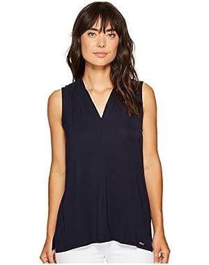 Calvin Klein Womens Sleeveless Solid V-Neck Top