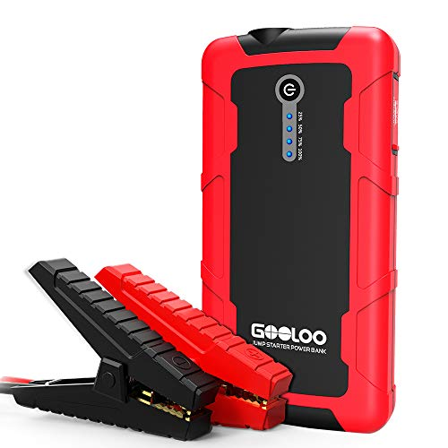 600A Peak Portable Car Jump Starter (up to 5.0L Gas or 3.0L Diesel ) Auto Battery Booster Power Pack Phone Charger with Dual QC 3.0 Input & Output, Built in LED Flashlight - Black/Red