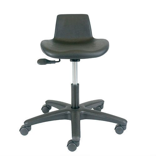 Office Master Work Stool Collections WS10 Ergonomic Workstools - No Armrests - Black Polyurethane Plus Ergonomics - Office Professional Master Stool