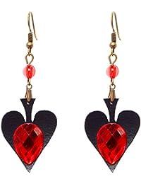 Vintage Lolita Red Rhinestone Teardrop with Butterfly Dangle Earrings