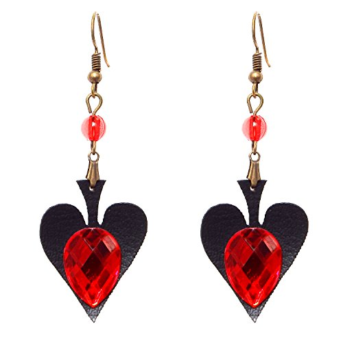 [RareLove Vintage Lolita Red Rhinestone Heart Dangle Earrings] (Dangle Halloween Costume)