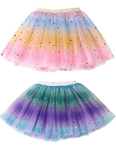 Simplicity Girls Tutu 2 Pack Rainbow Princess Ballet Toddler Tutu for 2-8 Years