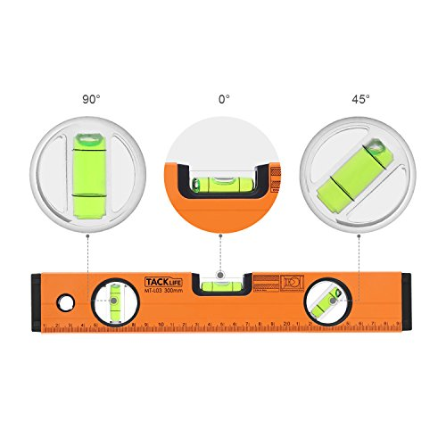 TACKLIFE MT-L03 12-Inch Level Aluminum Alloy Magnetic Torpedo Level Plumb/Level/45-Degree Measuring Shock Resistant Spirit Level with Standard and Metric Rulers by TACKLIFE (Image #3)