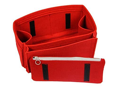 - [Fits Neverfull MM/Speedy 30, Red] Felt Organizer (with Diaper Pocket & Detachable Zipper Bag), Bag in Bag, Wool Purse Insert, Customized Tote Organize, Cosmetic Makeup Diaper Handbag