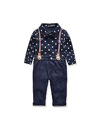 Miniowl Toddler Boys 2 PCS Set Gentleman Bowtie Polo Shirt Bid Shorts Overalls