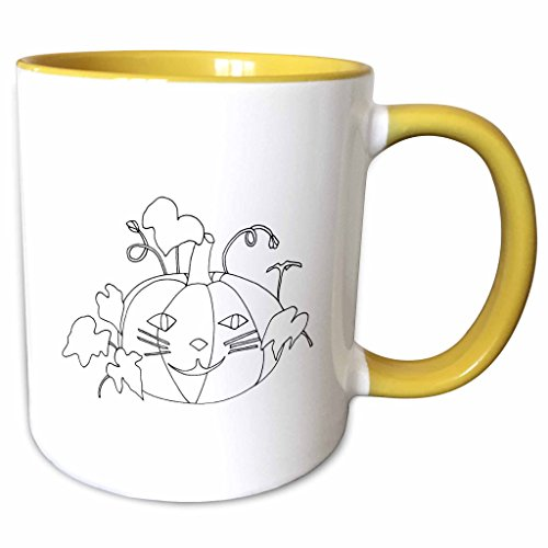 3dRose CherylsArt Holidays Halloween - Outline drawing of a pumpkin with a cute cat face for Halloween - 15oz Two-Tone Yellow Mug -