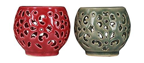 True Grit Fine Ceramic Tea Light Decorative Candlestick Holder, Round Base (Holder Lantern Brass Candle)