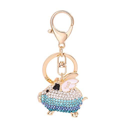 Yinpinxinmao Fashion Rhinestone Inlaid Flying Pig Keychain Key Ring Holder Hanging Decoration Blue ()