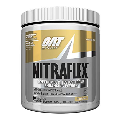 GAT - NITRAFLEX - Testosterone Boosting Powder, Increases Blood Flow, Boosts Strength and Energy, Improves Exercise Performance, Creatine-Free (Piña Colada, 30 Servings) (Pre Workout Supplements Gat)