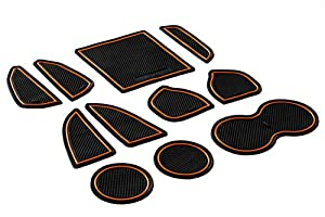 picture of CupHolderHero for Dodge Challenger 2015-2020 Custom Fit Cup Holder, Door, and Center Console Liner Accessories 11-pc Set (Orange Trim)