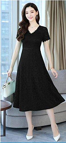der dünnes Sommerfrauen Dünnes MoMo Ansatz Langes Schwarz V langärmliges Kleid Spitzekleid tIxwxS