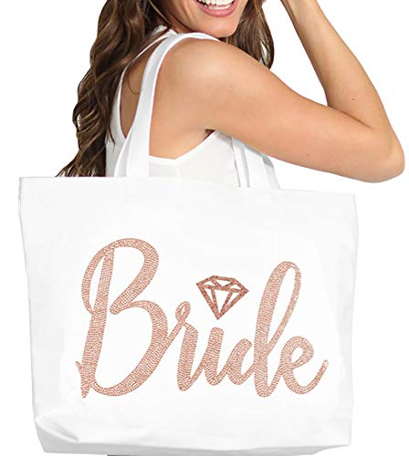 Rose Gold Bride Tote Bag - Giant Brides Tote with Diamond Motif, Bridal Shower Gift & Bridal Accessories - White Tote(DBride RSG) WHT