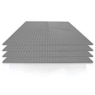 Building Bricks - 10 x 10 Inch Gray Stackable Baseplate (4 Pack) Classic Baseplates Compatible with All Major Brands