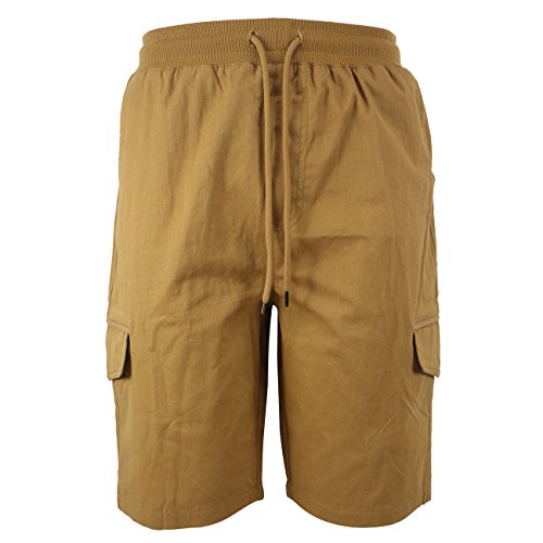 41f96eeee7 TanBridge Men's Cotton Cargo Shorts with Pockets Loose Fit Outdoor Wear  Twill Elastic Waist Shorts