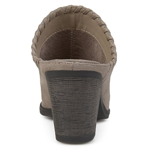 Brinley Co Dames Opschepbare Whipstitch Faux Suede Hoge Hak Mules Taupe