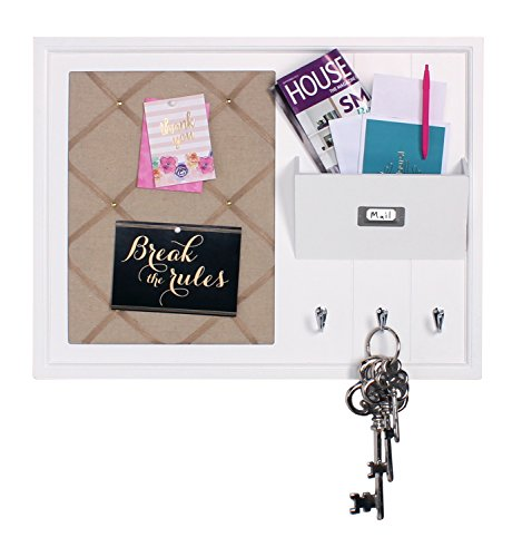DesignOvation Dagny Decorative Home Organizer with Fabric Pin Board, Mail Holder, Key Hooks, White (Beadboard File)