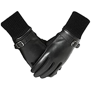 PAGE ONE Women Winter Leather Gloves Soft Warm Touchscreen Driving Gloves