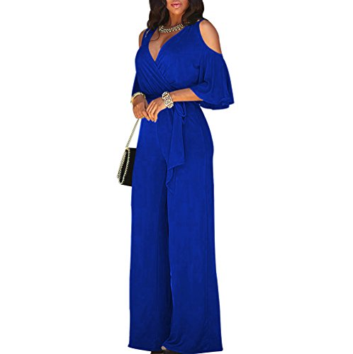 Gobought Women's Sexy Deep V-Neck Cold Shoulder Long Wide Leg Jumpsuit Rompers.,Blue,X-Large -