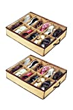 eyesonme Home Storage Shoe Organizers 12 Cells Under Bed Bag Foldable Closet Drawer, 2 pcs