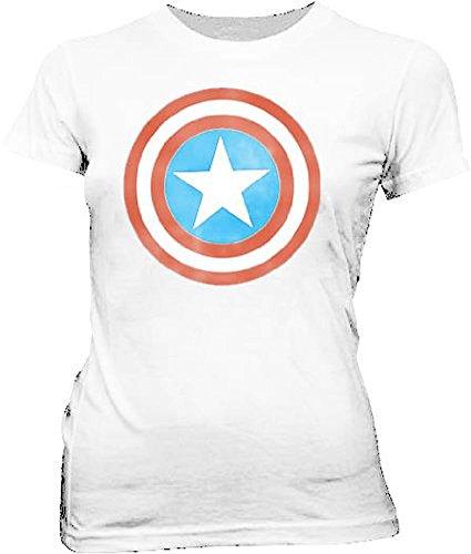 Captain America Distressed Icon White Juniors T-shirt Tee (Juniors X-Large)