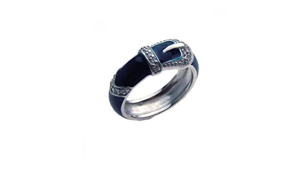 Clear Cubic Zirconia Blue Enamel Belt Buckle Ring Rhodium Plated Sterling Silver