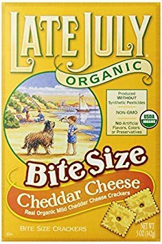 Late July Snacks Organic Bite Size Crackers - Cheddar Cheese - Pack of 12 - 5 oz.