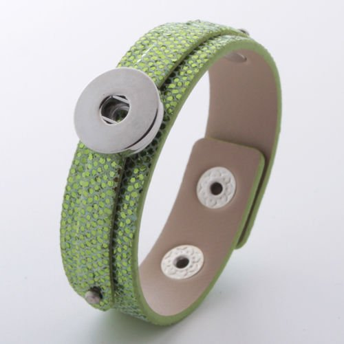 HOT DIY 1pcs Charm Silver Rhinestone Wristband for Noosa Snaps Chunk Button #104 -