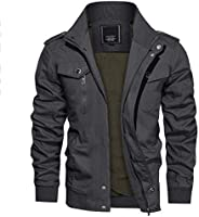 CRYSULLY Men's Spring Fall Casual Windbreaker Jacket Cargo Stand Collar Military Bomber Jackets